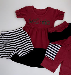 Maroon/Crimson/Black Ruffle Dress