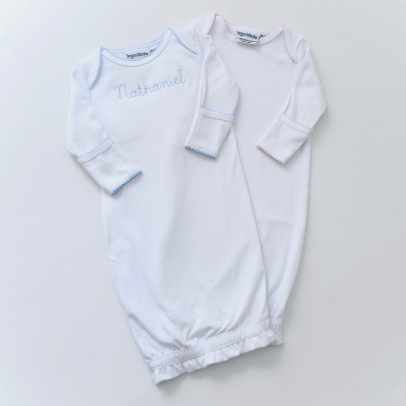 Picot Trim White Infant Gown