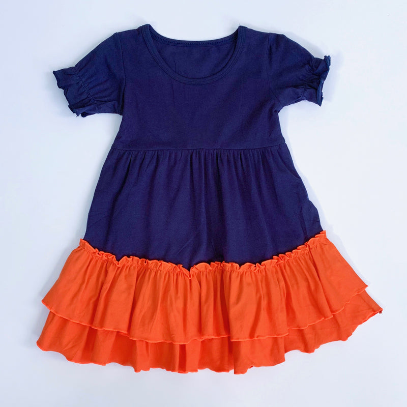 Navy/Orange Ruffle Dress