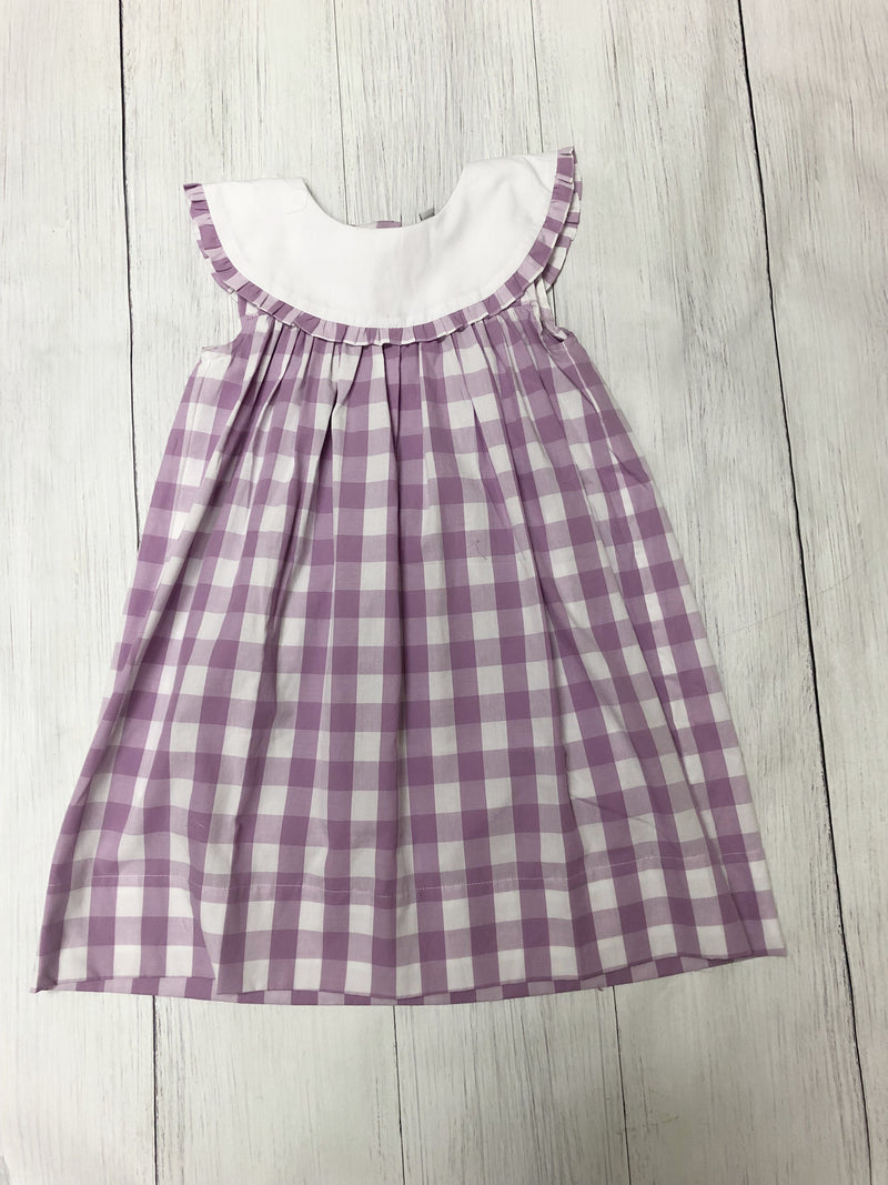 Purple Gingham Dress with White Collar