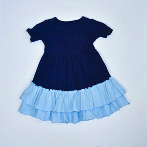 Navy/Baby Blue Ruffle Dress