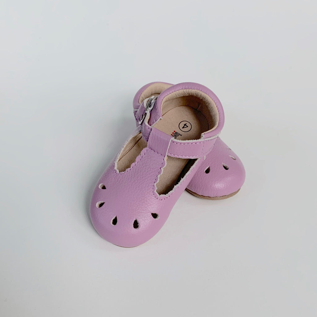 Lavender Scallop T-Strap Shoes