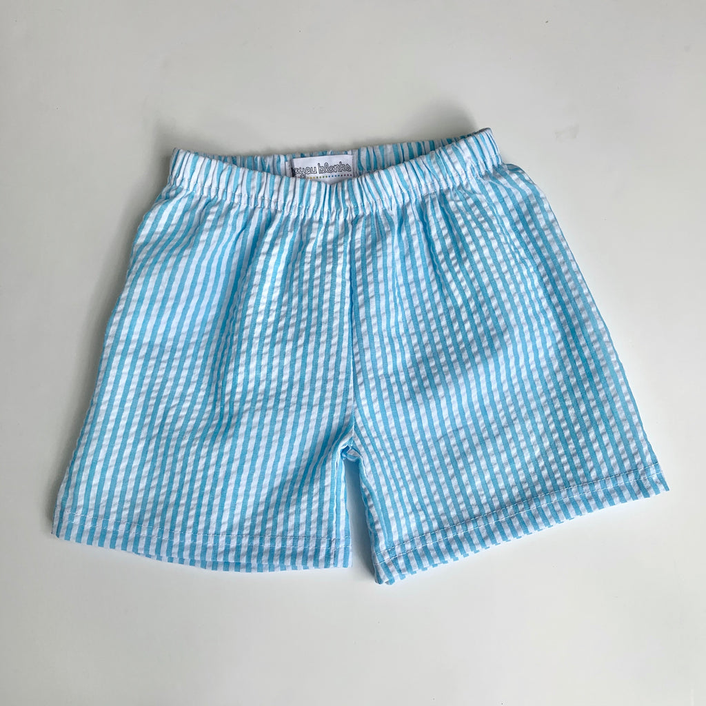 Aqua Seersucker Shorts, PRE-ORDER Extras — ships beginning of June