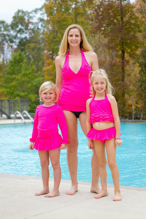Girls RASH Guard 2 Piece Sets - Tankini Style -  2 COLORS  (NAVY and Hot Pink) - Swimsuit, Swim