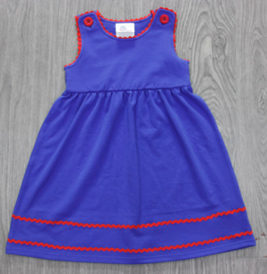 Royal Blue with Red Ric Rac Trim Dress