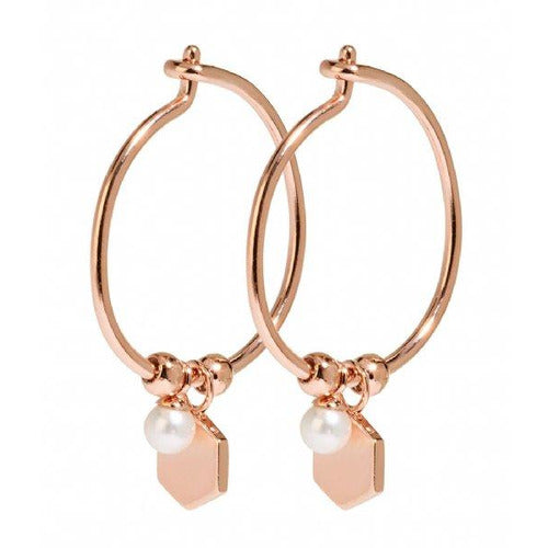 CLUSE Essentielle Hexagon and Pearl Charm Hoop Earrings