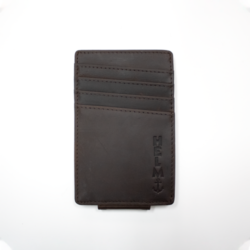 HELM Money Clip Wallet- DK Brown