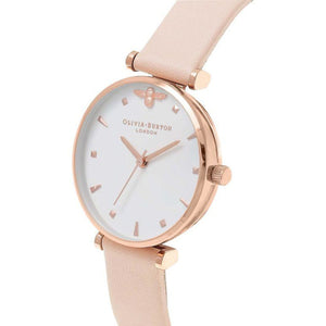 Olivia Burton Queen Bee Nude Peach & Rose Gold T-Bar