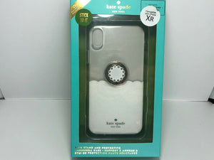 "kate spade new york Clear Case + Ring for Apple iPhone XR 6.1"" White Scallop"