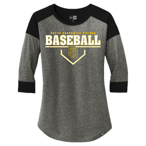 New Era Ladies Heritage 3/4 Sleeve Baseball Tee (Viking Baseball Plate Logo)