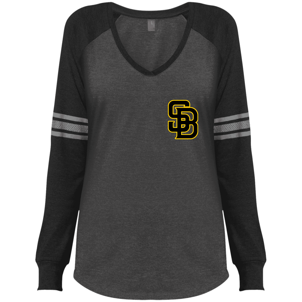 Mini SB Logo (bk/gd) Ladies' Game LS V-Neck T-Shirt