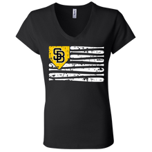 Load image into Gallery viewer, SB Flag Ladies' Jersey V-Neck T-Shirt