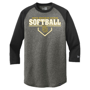 New Era Heritage 3/4 Sleeve Baseball Tee (Lady Vikings Softball Plate Logo)
