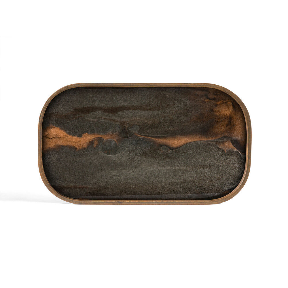 Bronze Organic glass valet tray - rectangular