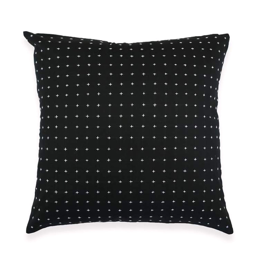 CROSS-STITCH THROW PILLOW - CHARCOAL