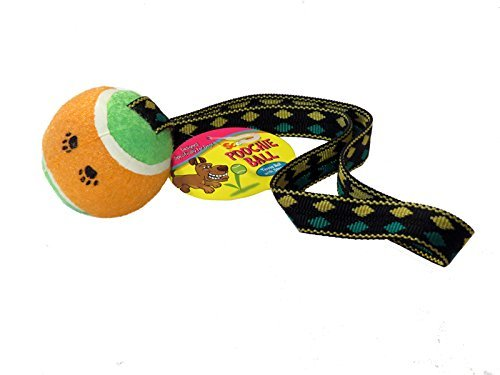 Tennis Ball with Tug Strap | Scoochie Poochie | Tough ball toy for dogs