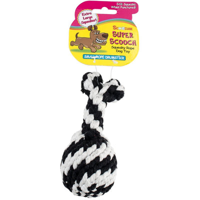 Super Scooch Rope Drumstick With Squeaker Dog Toy Small or Large