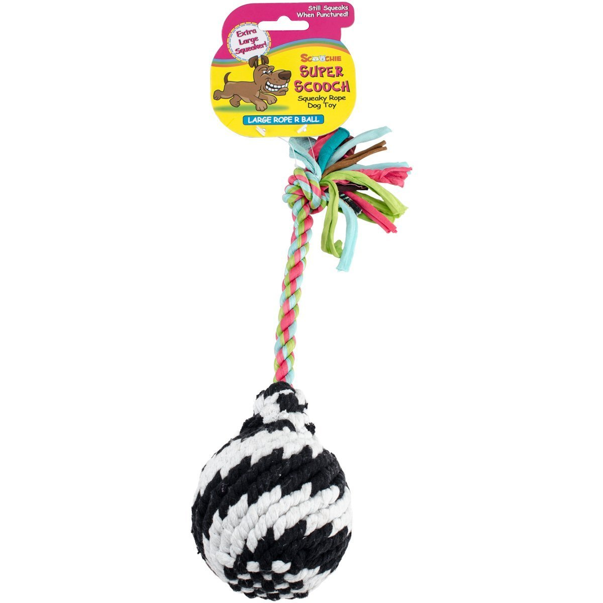Super Scooch Squeak Rope R Ball Dog Toy 9-Small