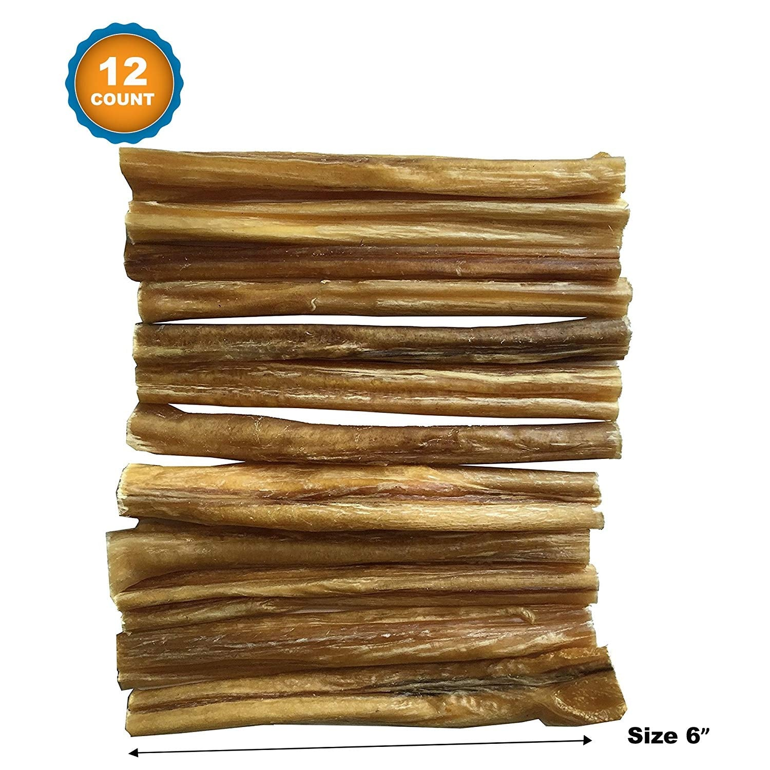 BULLY STICKS | 12 Count | 6 Inches | USDA Approved | 100% Natural Dog Chews |From 123 Treats