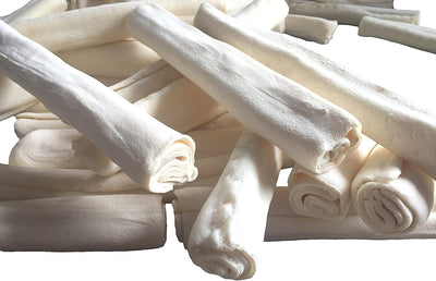 "9-10"" Rawhide Retriever Roll Thick - 100% Natural Rawhide Roll Dog Treats - 24 or 36 Count"