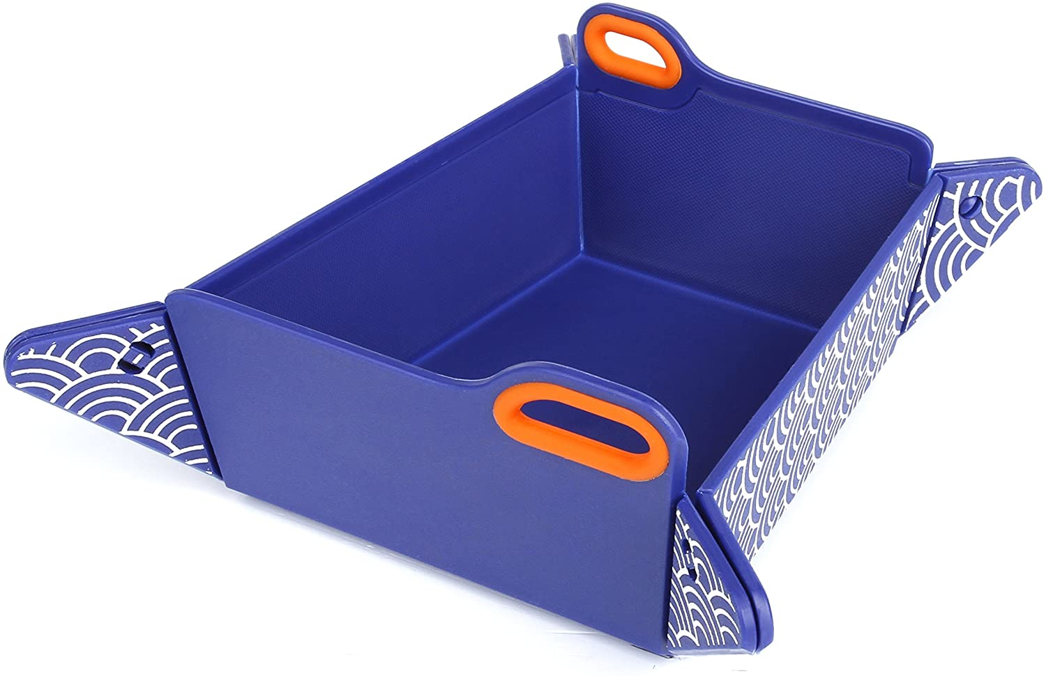 Japanese Blue Chop2bowl Dog and Cat Travel Collapsible Water and Food Bowl Snap on Chopping Board