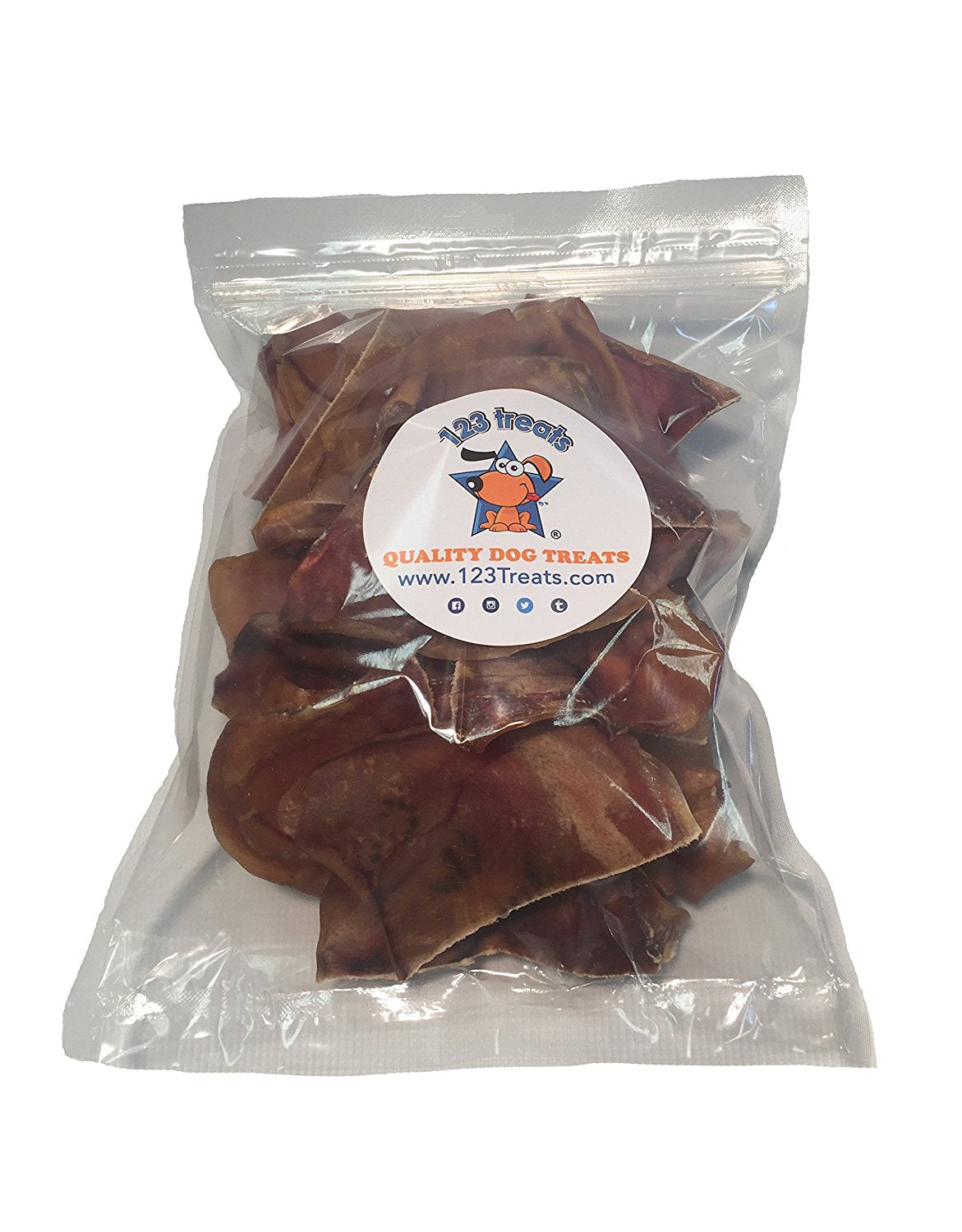 Mini Pig Ears Chews 30, 50, 100 or 200 Count | Healthy dog treats - Cut Pork Ear for dogs | 100% Natural USDA Approved Chews from 123 Treats