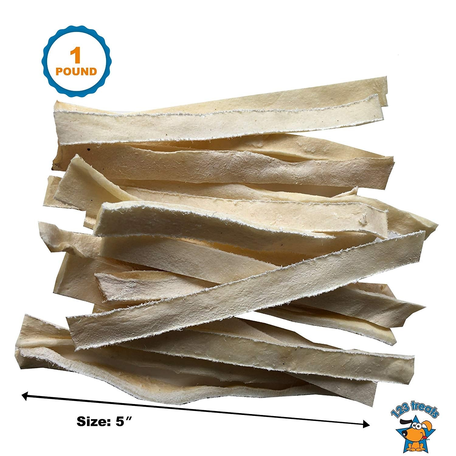 "1 Pound Rawhide Strips 5"" inches long by ½""  Flat cut strips"
