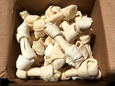 "6-7"" Rawhide Bones for Medium to Large dogs (10 or 30 Count) 100% Natural Bulk Bones by 123 Treats"