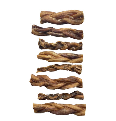 Braided Bully Sticks 5-6 inches chews for dogs | all Natural 8 ounce bag