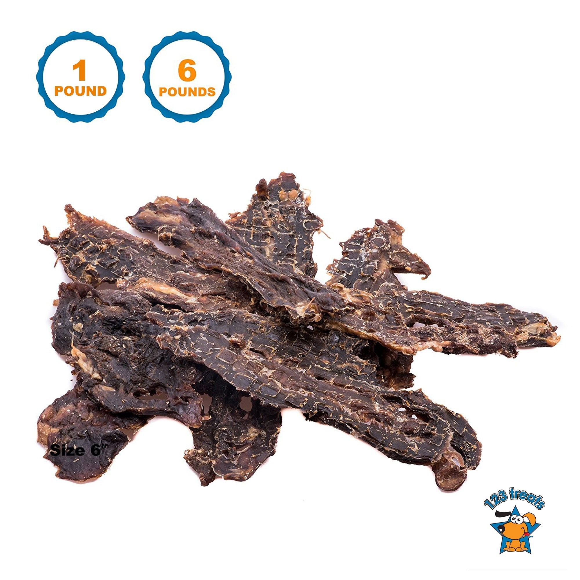 1 or 6 Pounds - Beef Jerky Treats For Dogs - 100% Real Meat dog Treats by 123 Treats