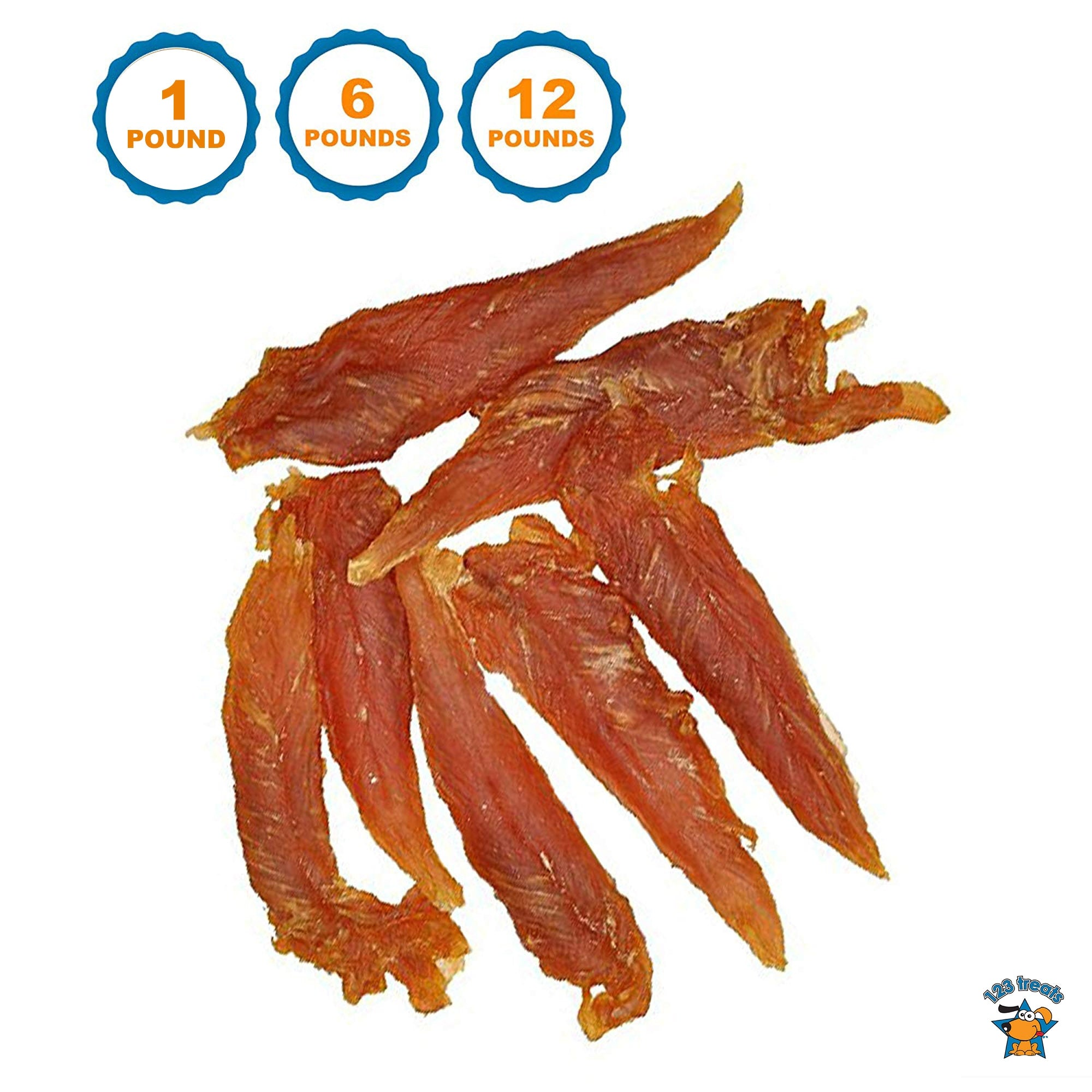 Chicken Jerky for Dogs Bulk 1, 6 or 12 Lbs | 100% Natural Chicken Dog Treats Dog Treats | Made in Brazil | 123 Treats