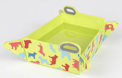 Green Chop2bowl Dog and Cat Travel Collapsible Water and Food Bowl Snap on Chopping Board