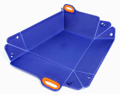 Dark Blue & Orange Chop2bowl Dog and Cat Travel Collapsible Water and Food Bowl Snap on Chopping Board
