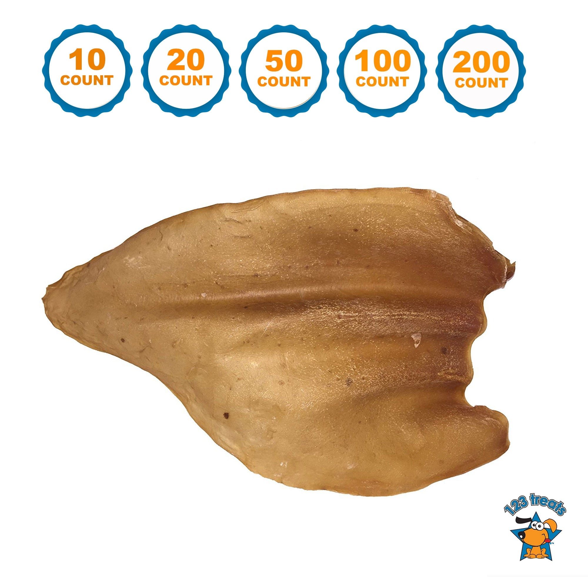 COW EARS for Dogs | 100% Natural Large Cow Ears Bulk Dog Treats 10, 20, 50, 100 or 200 Count