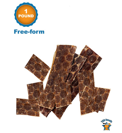 Free-form 1 Pound - Beef Esophagus for Dogs | All Natural Beef Chews | Meat Jerky treats from Free-Range Grass Fed Cattle with No Hormones, Additives or Chemicals | by 123 Treats