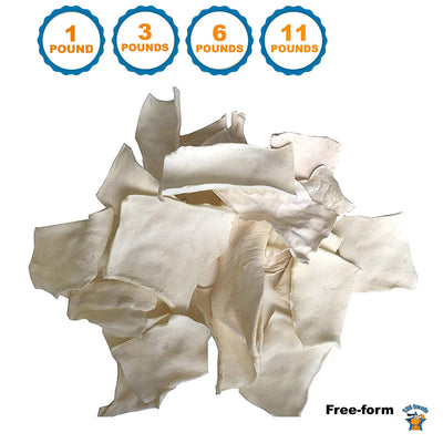 Free-form Rawhide Chips Dog Chews - Beefhide Rawhide Dog Treats 1, 3, 6 or 11 Pounds by 123 Treats