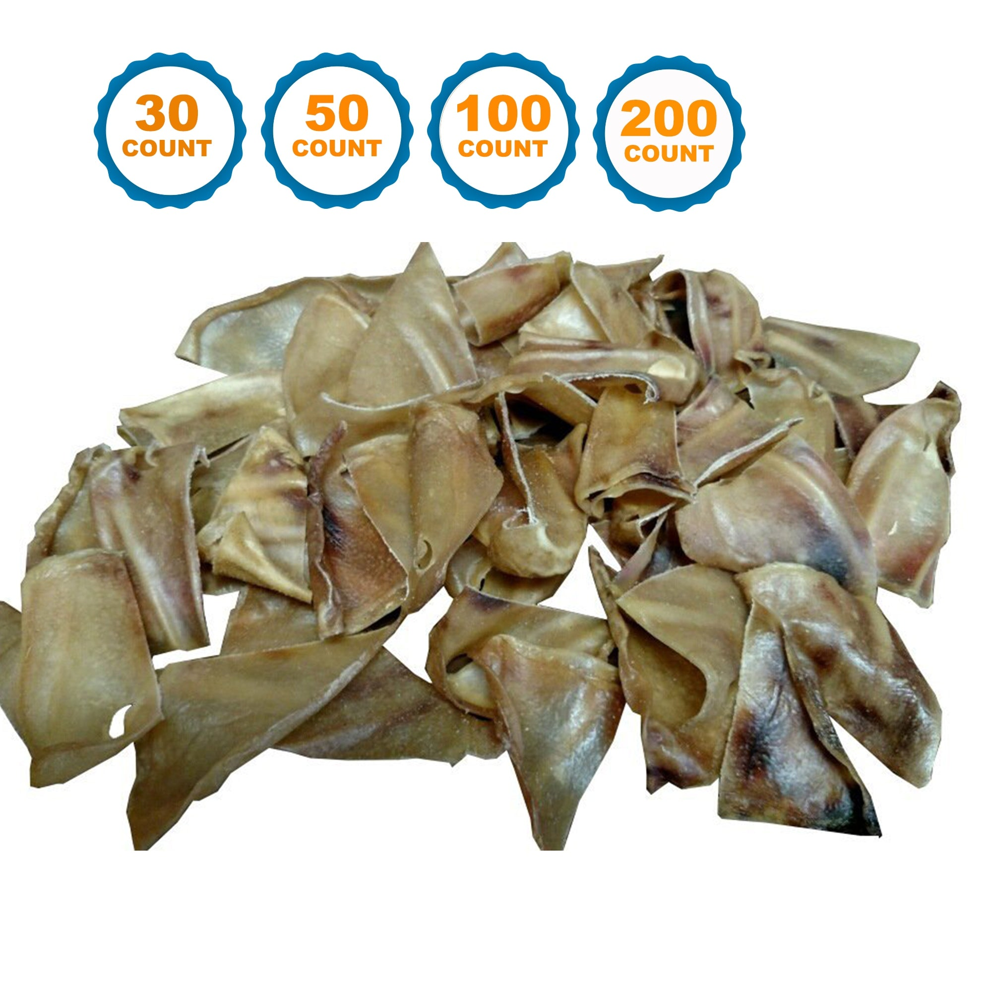Half Pig Ears dog chews 30, 50, 100 or 200 Count - Cut Pork Ear for dogs | 100% Natural Chews from 123 Treats