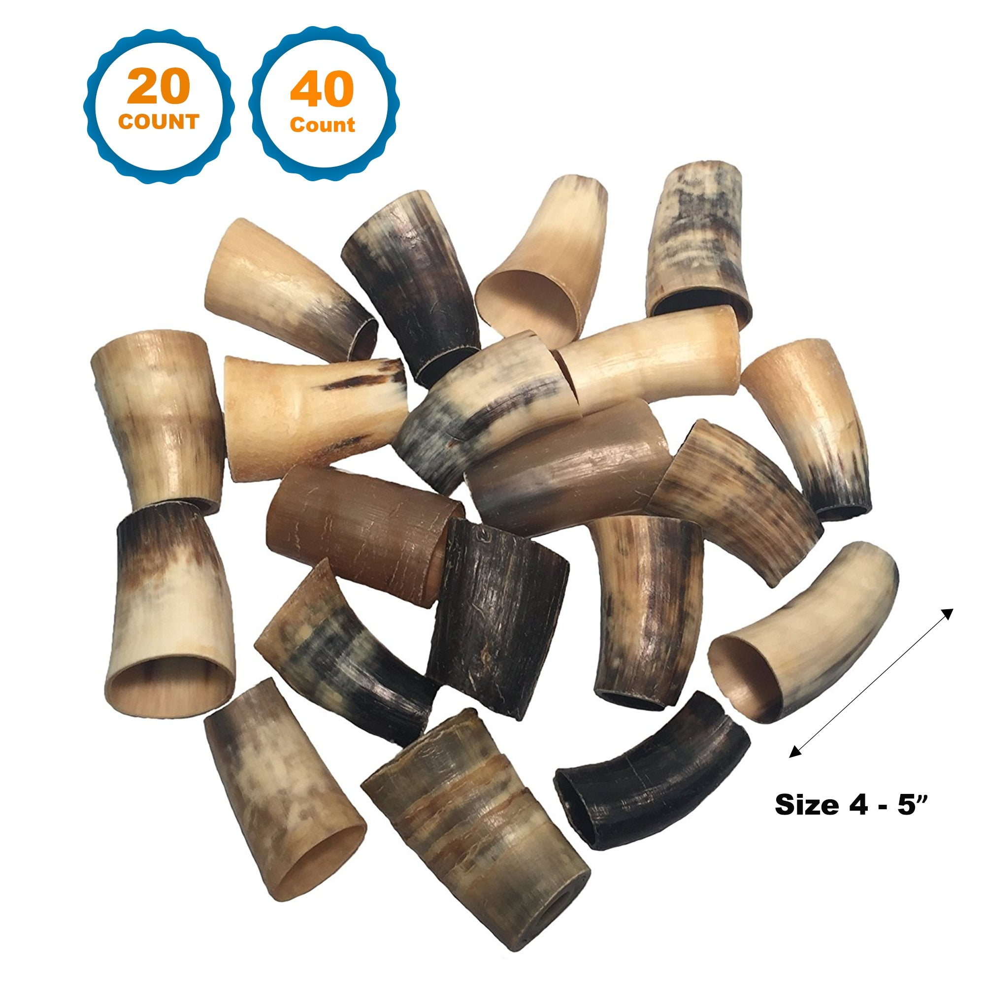 4 to 5 inch | BEEF HORNS - 100% Natural Long lasting Horns for dogs 20 or 40 Count | Water Buffalo Dog Chew by 123 Treats