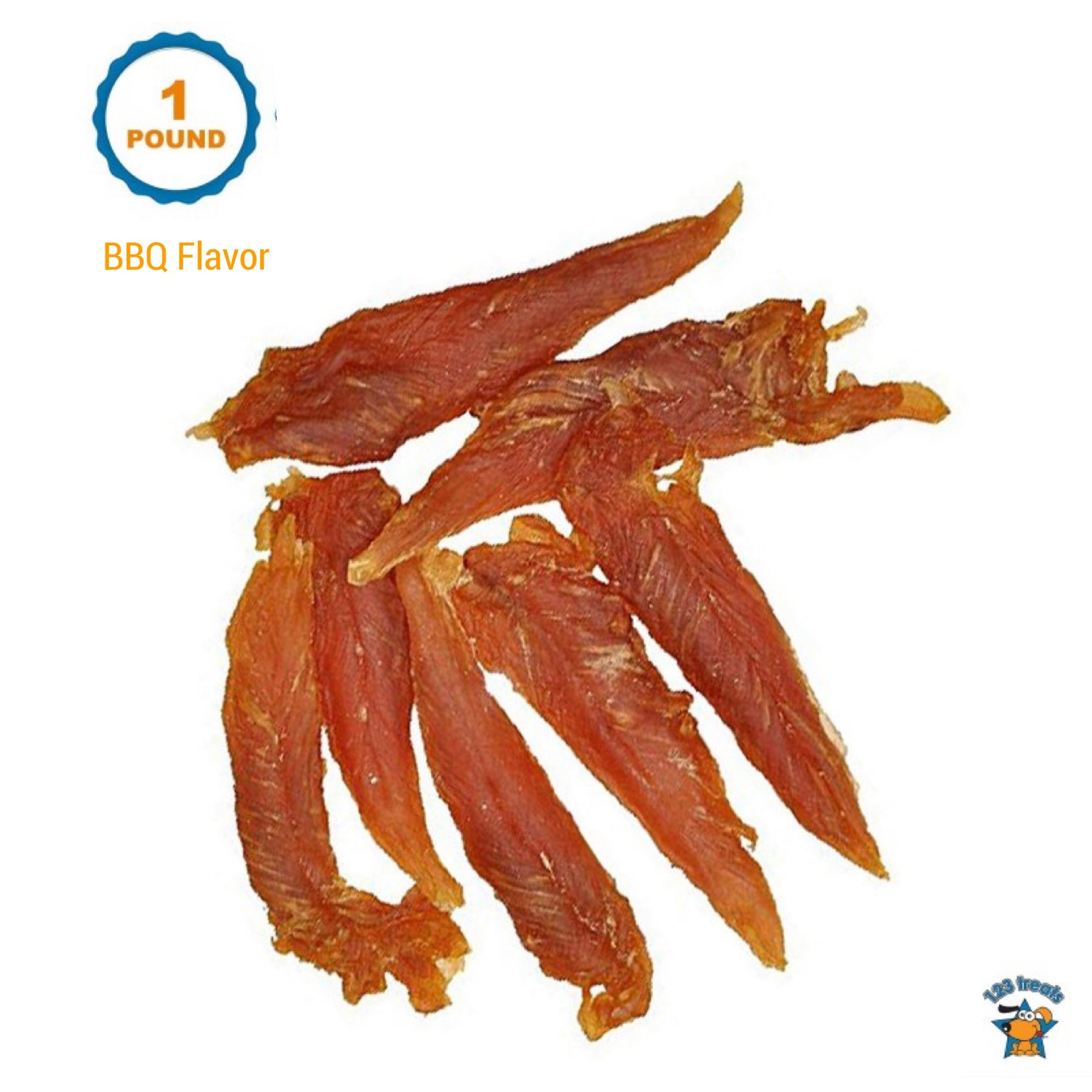 Chicken Jerky BBQ flavor for Dogs Bulk 1Pound | 100% Natural Chicken Dog Treats Dog Treats | Made in Brazil | 123 Treats