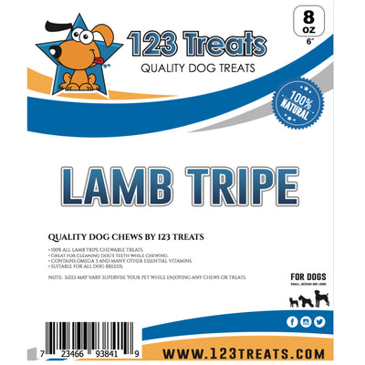 LAMB TRIPE DOG STICKS (8 Ounces Dog Treat Bag) 6 Inches Long | Natural Dog Chews for Small, Medium or Large Dogs