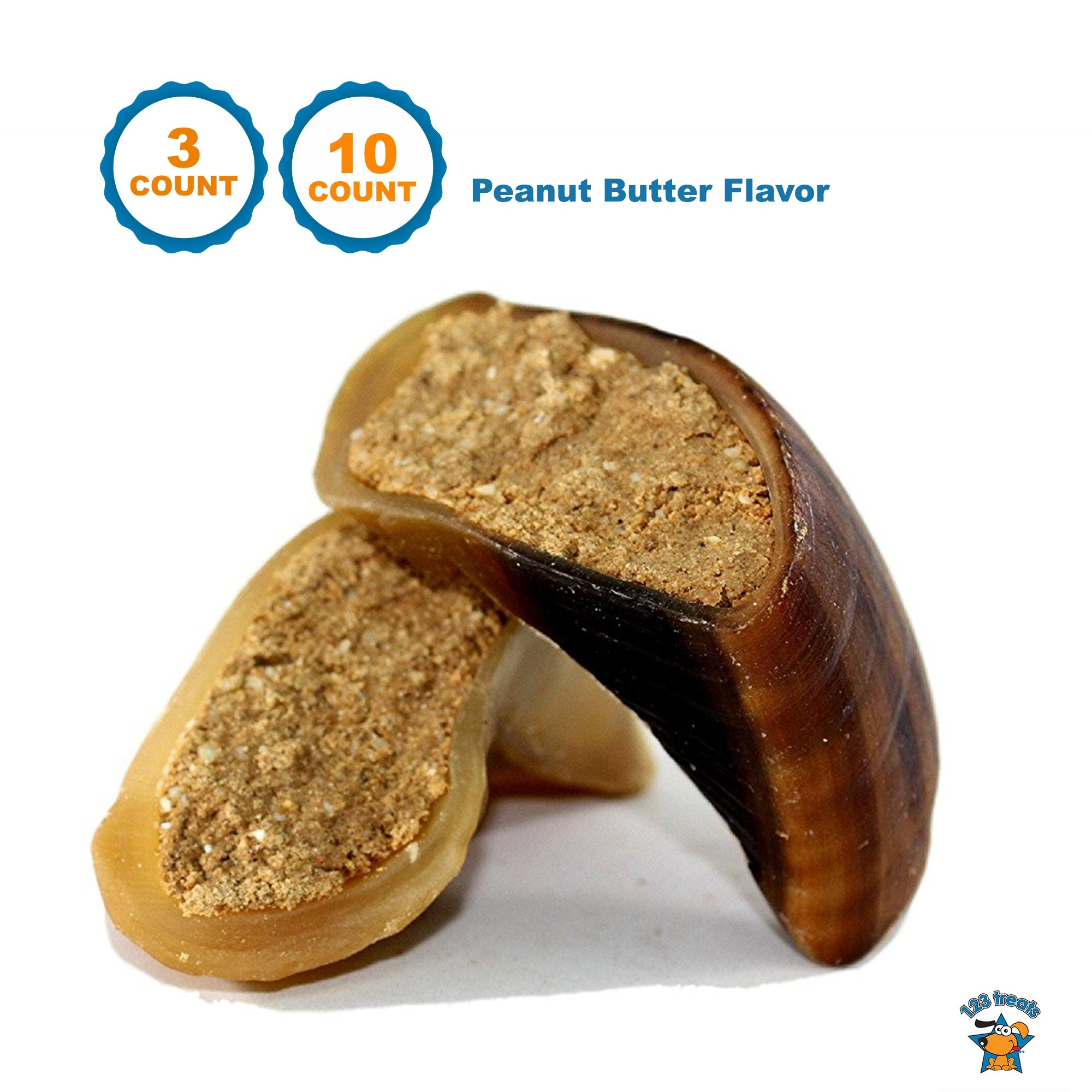 PEANUT BUTTER FILLED COW HOOVES 3 or 10 Count - 100% Natural Dog Dental Treats | Beef Hoof From 123 Treats