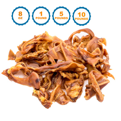 PIG EARS STRIPS for Dogs 8 Oz & 1, 5 or 10 Pounds | 100% Natural Dog Chews From 123 Treats