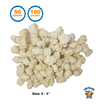 "2-3"" RAWHIDE TREAT BONES for Small Dogs (50 or 100 Count) By 123 Treats"