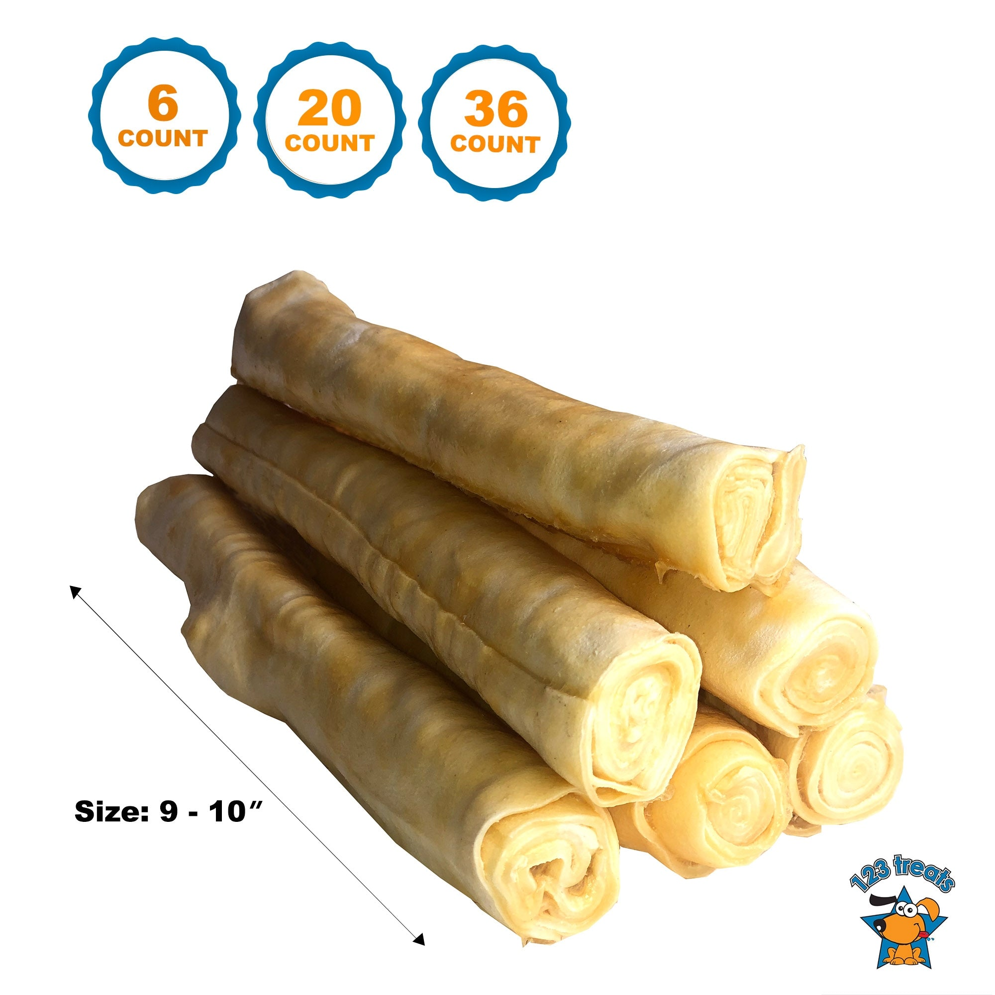 "9"" - 10"" Rawhide with Chicken Retriever Roll Delicious Dog Stick Chews - All-Natural Grass-Fed Free-Range Dog Chews"