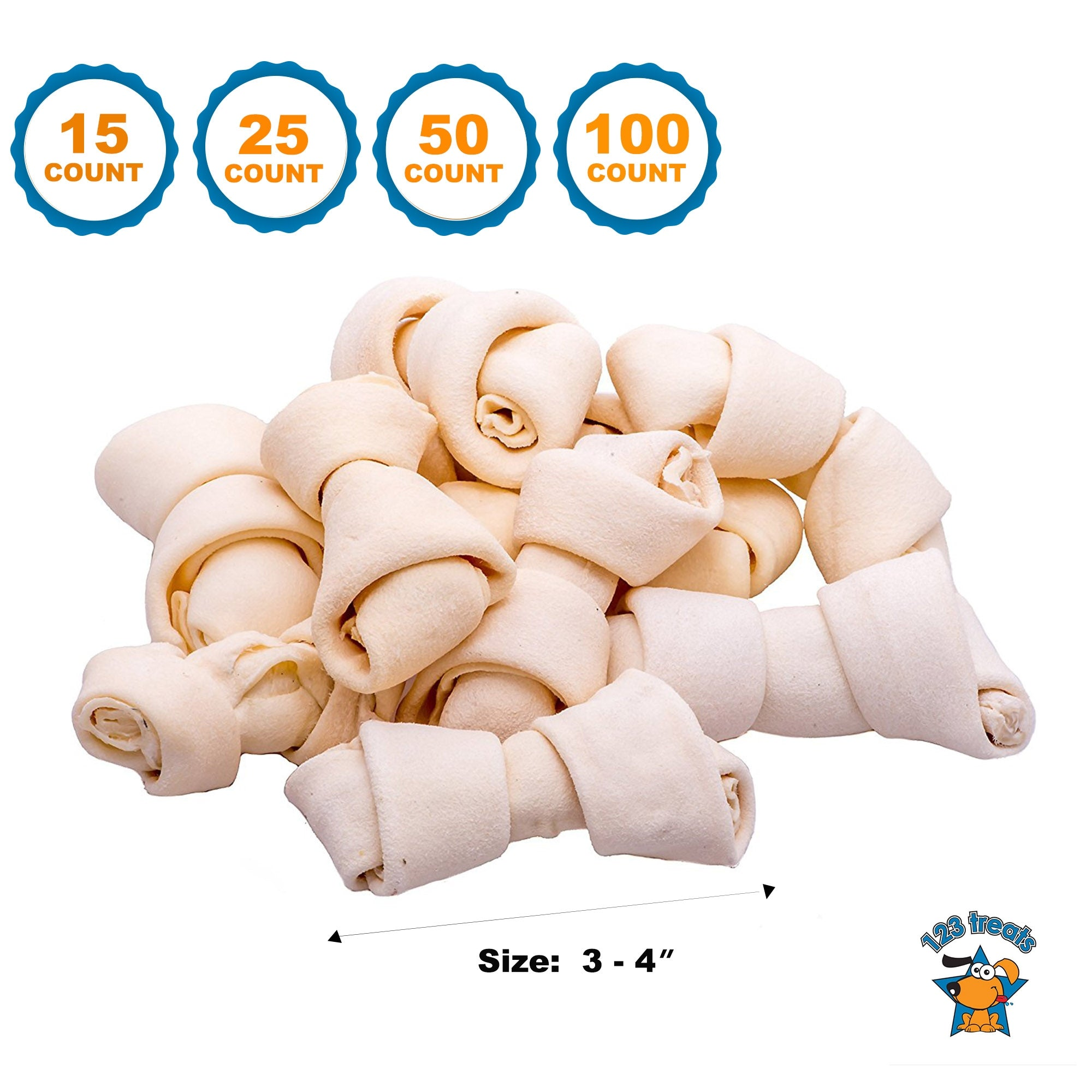 3-4 inches Rawhide Bones Chews | Premium Rawhide Dog Bones 15, 25, 50 or 100 Count