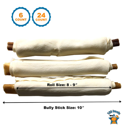 "RAWHIDE RETRIEVER ROLL 8-9"" with 10"" long Bully stick inside 6 or 24 Count"