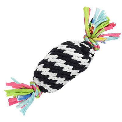Scoochie Pet Products Super Rope Gummer with Squeaker Dog Toy, Black and White