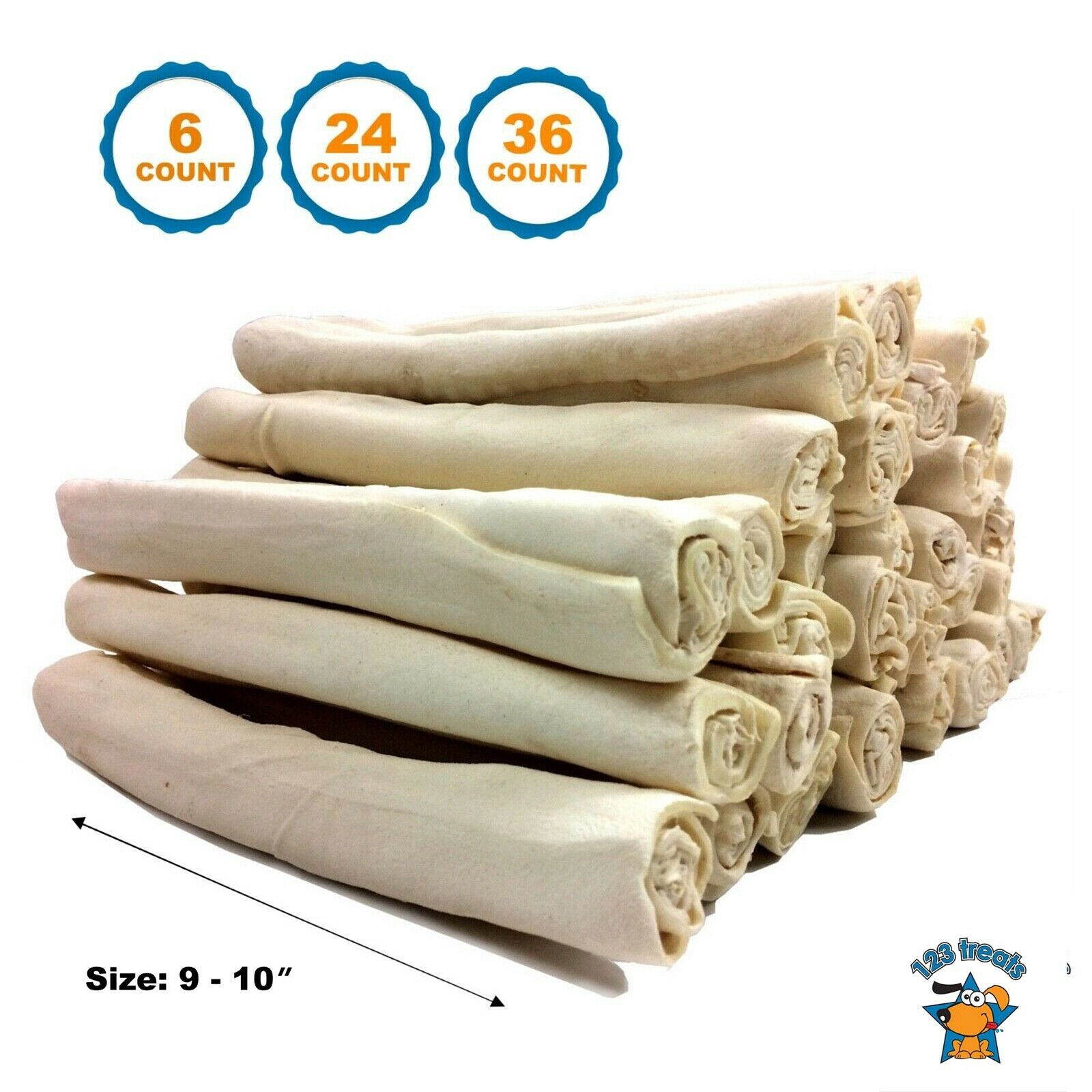 Rawhide Rolls dog chews 9 - 10 inches (6, 24, or 36 Count)| All natural chews for dogs