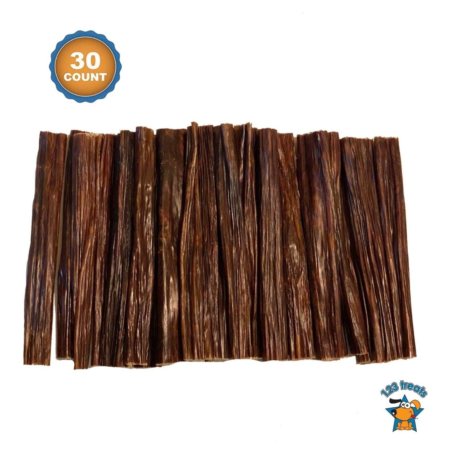 Beef Stick Dog Treats - 100% Natural Esophagus Chews for Dogs (6 inches 10 or 30 Count)