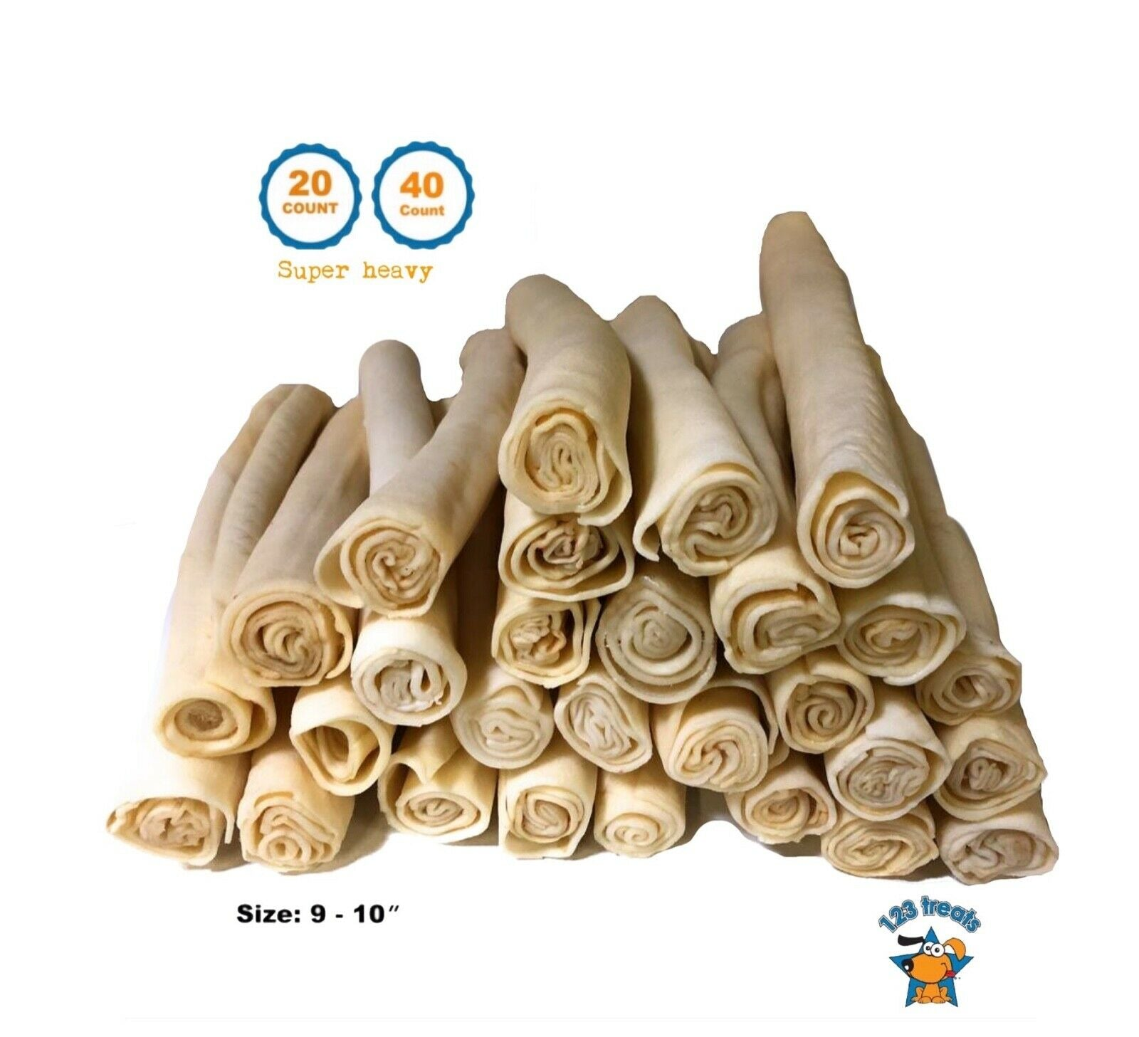 9 inches Rawhide Retriever Roll | Thick retriever roll for dogs (20 or 40 Count)